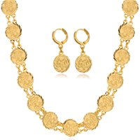 real gold jewelry - 18K Real Gold Platinum Plated Classic Religion Jewelry Muslim Allah Necklace Earrings Set Fashion Jewelry For Women MGC NE5107