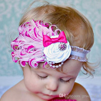 Wholesale Cute Girls Head Pieces Hot Pink Feather Flower Girl Head Pieces Hot Sale Headband Rhinestones Kids Hair Wear Accessories Whoesales Prices