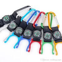 Wholesale Hot Sale Colorful Multifunctional Carabiner Keychain Kettle Chain With Compass Hiking Outdoor Sports Camping Travel Supplies