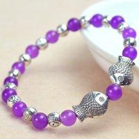 Wholesale Fashion double fish antique silver mauve jade bracelet with bead diameter mm noble hand chain bead bracelet