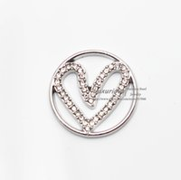 Wholesale Fashion Heart Style Crystal Origami Owl Floating Charms For MM Floating Lockets F0003