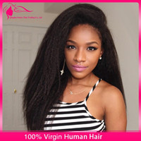 kinky straight full lace wigs - New Style Kinky Straight Celebrity Wigs Natural Color Brazilian Lace Front Wig Density Yaki Kinky Straight Glueless Full Lace Wig