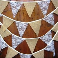 animal baby shower decorations - Hessian Jute Flag Triangle pennant Baby Shower Rustic Wedding Party Decorations Burlap Lace Bunting Banner