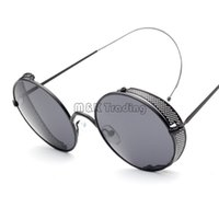 arc sun - 2016 Vintage Punk Steam Men Sunglasses Metal Mesh Enclosure Sun Glasses Frame Slim Arc Temples Colors