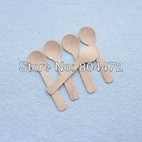 baby ice packs - Disposable Wooden Baby Ice Cream Spoon Heavy Weight Pack cm Flatware Cutlery Camping Free Shippping