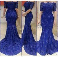 Wholesale Arabic Blue Prom Dresses with Short Sleeves Sequins Off Shoulder Mermaid Sweep Train Vestidos Women Formal Evening Dress Pageant Gowns