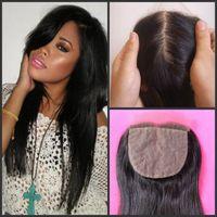 Cheap 6A Virgin Brazilian straight Silk Base Closure,Free 3 Part Cheap Silk Base Closure Brazilian Hair,4x4 Brazilian Silk Closure