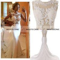 Wholesale HOT Newest Mermaid Wedding Dresses Sheer Crew See Through Applique Zipper Long Court Train Beach Lace Wedding Dresses Bridal Gown