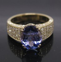 tanzanite rings - Solid k Yellow Gold Violet Blue Tanzanite Engagement Diamond Ring R0031
