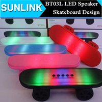 audio christmas cards - 2015 Newest Christmas Gift Scooter BT03L Skateboard Bluetooth Mini Speaker with LED Light Stereo Audio Player Protable Handsfree FM Radio