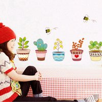 bee wall decal - Wall Home Decor Decoration Mural Flowerpot Flower Bee Garden Kids Decal MTY3