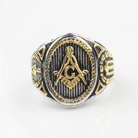 mens gold ring - Freemason Mens Boys Gold Silver Free Mason L Stainless Steel Masonic Ring New