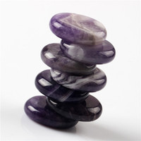Wholesale 7 pieces Band Amethyst Palm stone Crystal Reiki Healing Chakra plam stones with Free pouch