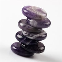 Wholesale Band Amethyst pieces Palm stone Reiki Healing Chakra with Free pouch