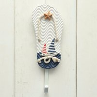 Wholesale Mediterranean Style Wall Hooks Anchors Fish Slipper Boat Shaped Living Room Hanging Decoration Nautical Decor