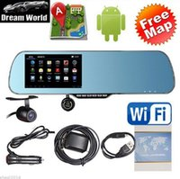 "Cheap Car dvr 5"" Android 4.0 Car Rear view Mirror Navi GPS + 1080P DVR + Wifi + Backup Camera"