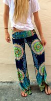 Cheap 2015 New summer Palazzo Pants women Casual High Waist Flare Wide Leg Long Trousers Plus Size floral classic exuma pants preppy