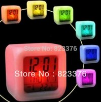 Wholesale DHL Glowing Led Color Change Digital Alarm Clock