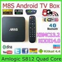 Wholesale M8S Android Smart TV Box Amlogic S812 Quad Core GHZ GB GB H HEVC K AC BT HDMI SPDIF RJ45 XBMC KODI14 TV Box