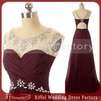Wholesale Maroon Prom Dresses Real Image Sweetheart Neckline A line Sweep Train Draped Bodice Rhinestone Beading Evening Gowns