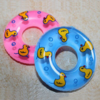 bath promotions - Promotion Sale Mini Rubber Swimming Rings Baby Bath Water Toys Kids Bath PVC Life Buoy With Sound Floating Duch CHR