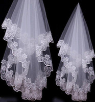 affordable bridal veils - Affordable Cheap Factory Real Image Wedding Veils Lace Applique Layer Edge Bridal Lace Veils Fingertip Length Bride Wedding Tops Veil