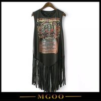 Wholesale MGOO Brand Unique Design Long Tank Tops With Tassels Cheap Clothes China Tops Vintage Old Wash Fashion Tank Tops