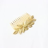 Wholesale 2015 New Arrival Wedding Bridal Gold Plated Leaf Hair Clip Comb Women Hairpin Hair Accessory H237