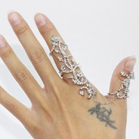chain stainless steel - Brand New Vintage Gold Plated Jewelry Stainless Steel Chain Two Finger Rings For Women Link Double Ring Tree MYF223