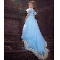 Wholesale 2015Cinderella Blue Dress With Butterfly Baby Girl Summer Wear Kids Clothing Prom Trailing Evening dress cosplay
