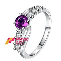 Charm 925 Sterling Silver Amethyst púrpura lindo Anillos Austria cristal AAA circón anillos para la joyería de la boda