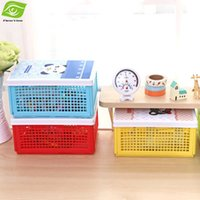 plastic folding table - Office Folding Plastic Storage Box Organizer Candy Color Storage Container For Stationery Sundries Table Decoration Box dandys