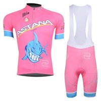 Wholesale 2014 pink astana cycling jersey suit short sleeve jacket bib shorts