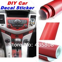 Wholesale 118 x24 Waterproof DIY Car Sticker Car Styling D M Car Carbon Fiber Vinyl Wrapping Film With Retail packaging red black