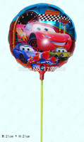 air baloon - Hot sell inch cars balloon with pole Aluminium foil cartoon balloon helium balons air balls birthday baloon ballons