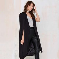 Wholesale New Cape Design Solid Long Style Open Women s Trench Girls Cloak Coats Outerwears Tops Female Clothing