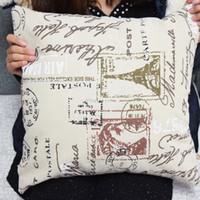 Wholesale 2016 Vintage Paris eiffel tower Stamp printed cushion cover cm for Home Decor Sofa Pillowcase