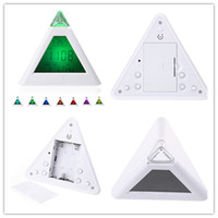 Wholesale New Arrive LED Color Changing Pyramid Digital LCD Snooze Alarm Clock Triangle Thermometer C F relogio de mesa reloj despertador