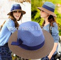 Expédition gros-Mode Femmes Filles Chapeau de Paille Brim Fedora lin bowknot Trilby plaisancier Summer Beach Sun Hat gratuit