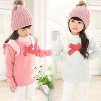 Wholesale 2015 Girls clothing Bottoming Shirt Tee Tops Sweatshirts long sleeve bow warp knitted velvet kid clothes children wear Winter