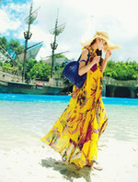 indian dresses - 2014 Celebrity Style Women Bohemian Indian Floral Print Sleeveless Halter Chiffon Maxi Dress Beach Dress with Belt Drop Shipping