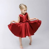 western dresses - Princess Vintage Big Bow Ruffles Party Dresses Sweet Baby Hot Red Color V Neck Western Fashion Holiday dresses DHL