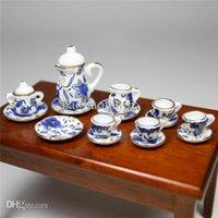Wholesale Miniature Porcelain Tea Sets Blue Flower Patten Porcelain Coffee Tea Cup MiniatureS Doll house for Decoration