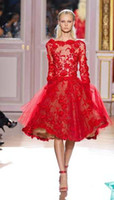 best fashion pictures - Best Selling Zuhair Murad Short Evening Dresses Long Sleeves Bateau Neck Red Lace Cocktail Dresses Custom Made