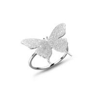 Wholesale Top Sale Fashion Finger Ring Jewelry for Women Girls Lovely Gift Sterling Silver Frosted Butterfly Silver Ring In Lucky Sonny Store