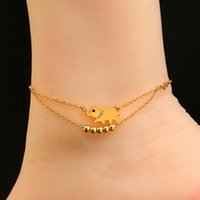 Wholesale Barefoot Sandal Beach Foot Chain Rose Gold Plated Elephant Charm Anklet Bracelet