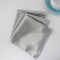 Wholesale 10pcs Dark Silver Gray Inch Square Satin Dinner Napkins or Handkerchiefs Wedding New Table Serviettes NPK