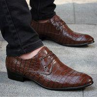 Wholesale Newest Men s flats formal leather shoes men fashion male Business work shoes Dress shoes Crocodile pattern flat shoes LS092