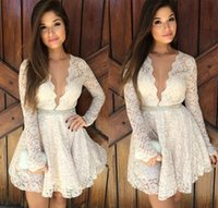 Wholesale Women Celebrity Wedding Prom Club Party Dress Deep V neck Low cut One piece White Flower Lace Hollow out See through Sexy Mini Dresses