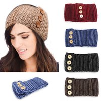 big earmuffs - New Winter color women big children Crocheted headbands with three Buttons Headbands knitting Warm earmuffs Hair Band C227